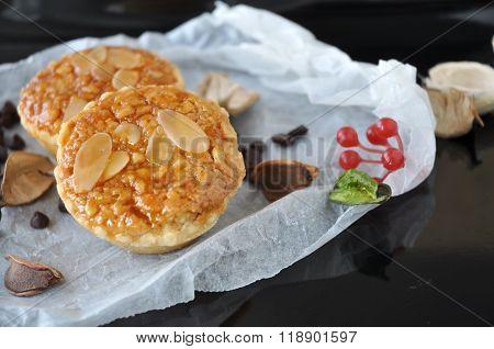 Almonds Sweet Tart On Crumpled Paper