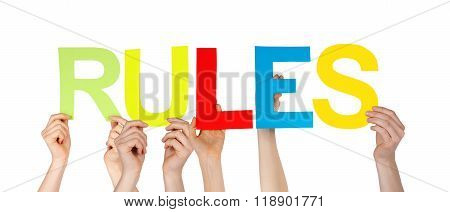 Many People Hands Holding Colorful Straight Word Rules