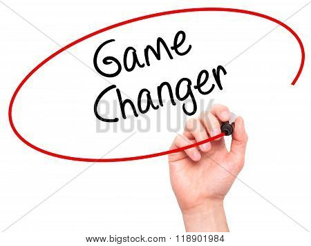 Man Hand Writing Game Changer With Marker On Transparent Wipe Board