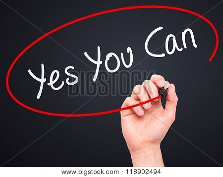 Man Hand Writing Yes You Can With Marker On Transparent Wipe Board