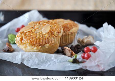 Close Up Almonds Tart