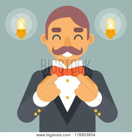 Wealthy Victorian Gentleman Businessman Character Correct Tie Bow Icon Stylish Lamp Background Retro