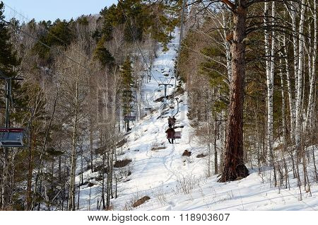 Chair Lift To The Mountain Tserkovka