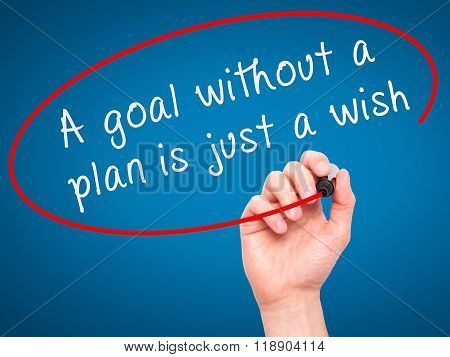 """Man Hand Writing """"a Goal Without A Plan Is Just A Wish"""" Black Marker On Visual Screen"""
