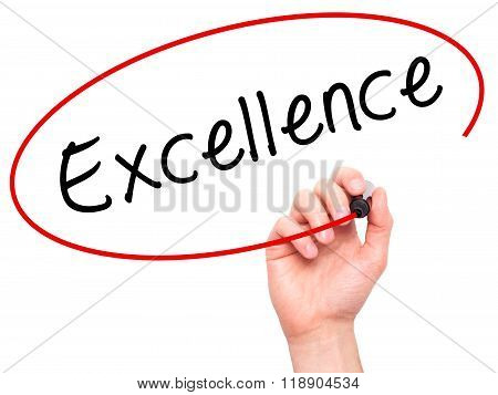 Man Hand Writing Excellence With Marker On Transparent Wipe Board Isolated On White