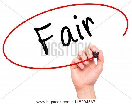 Man Hand Writing Fair Black Marker On Visual Screen