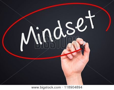 Man Hand Writing Mindset With Marker On Transparent Wipe Board Isolated On Black