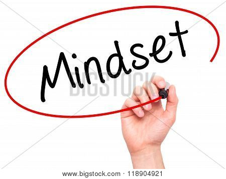 Man Hand Writing Mindset With Marker On Transparent Wipe Board Isolated On White