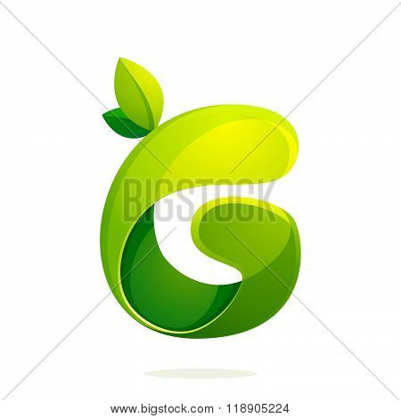 G Letter With Green Leaves Eco Logo, Volume Icon.