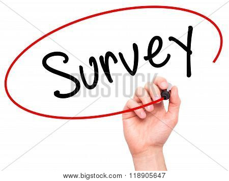 Man Hand Writing Survey With Marker On Transparent Wipe Board Isolated On White