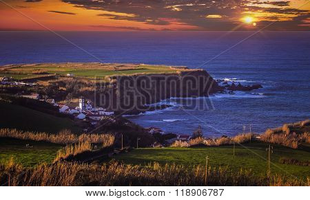Sunset over Sao Miguel coastline