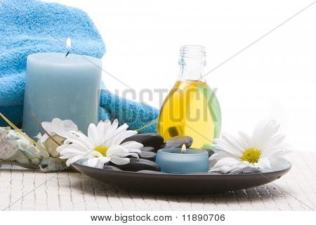 Spa stones, essential oils and candles