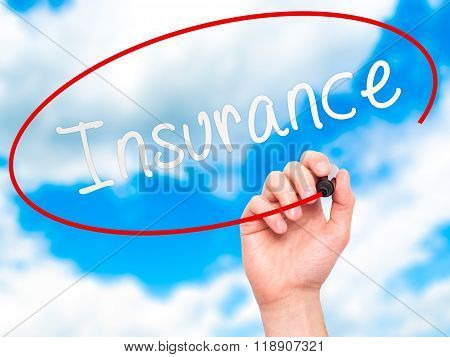 Man Hand Writing Insurance With Marker On Transparent Wipe Board