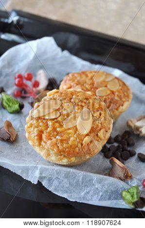 Close Up Tasty Almonds Tart