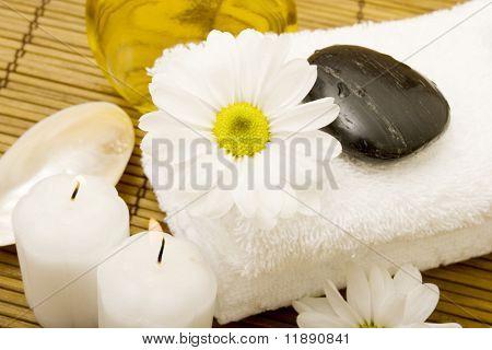 Spa items on bamboo mat