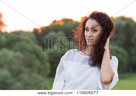 Young Happy Woman With Black Hair At Outdoors