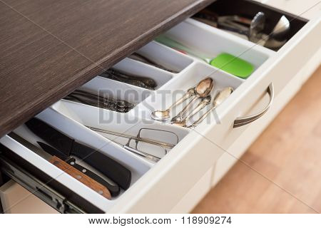 Spoons, Forks And Knives In Cutlery Box Drawer