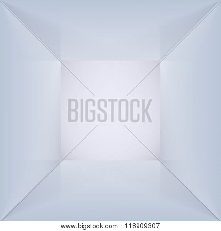 Vector square box with blank inner space. 3D lit empty room interior perspective view. Photobox inside.