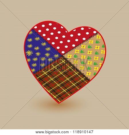Patchwork  heart  illustration