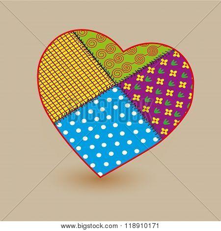 Patchwork big heart  illustration