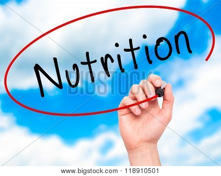 Man Hand Writing Nutrition With Marker On Transparent Wipe Board