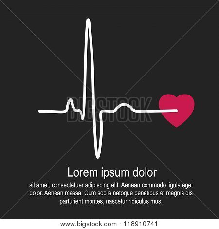 Heart rate and pulse on black background