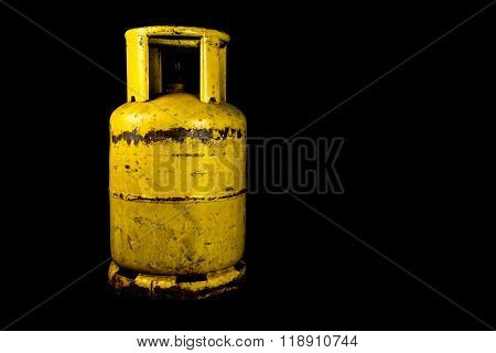 Propane Gas Tank On Black Background