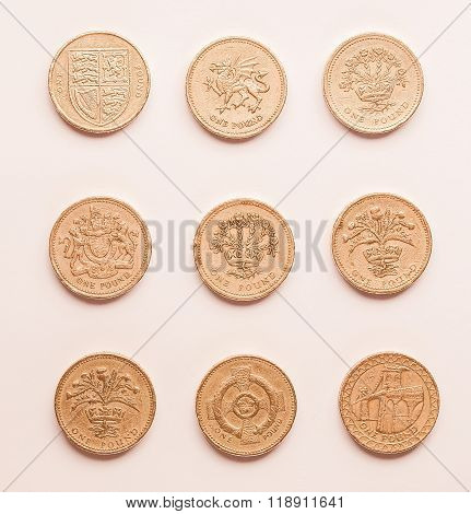 One Pound Coins Vintage