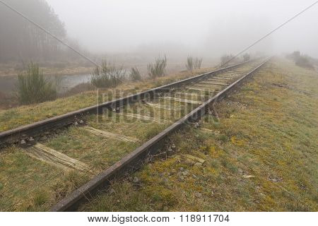 Old Railway Line Borkense Course In The Netherlands.