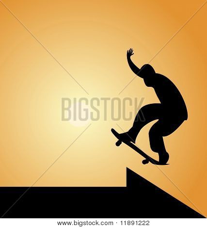 Illustration Of Black Silhouette Skateboard Man And Arrow