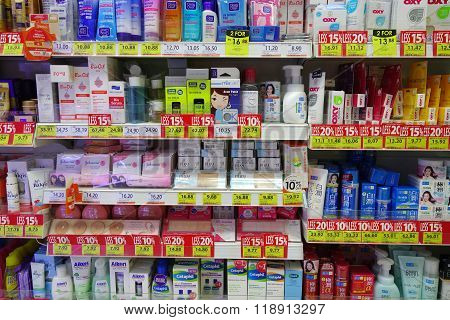 Skincare And Cosmetic Products On Display In A Department Store In Johor Bahru Malaysia