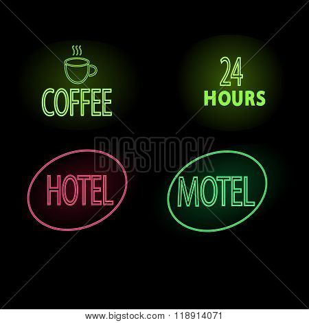 Set Of Neon Glow Signs. Coffee Frame And Open 24 Frame, Motel, Hotel Vector Illustration