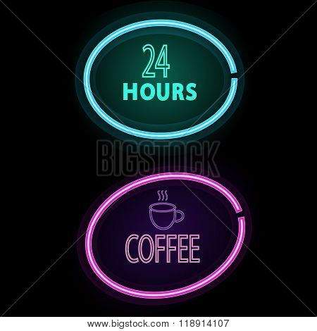 Set Of Neon Glow Signs. Coffee Frame And Open 24 Frame. Vector Illustration