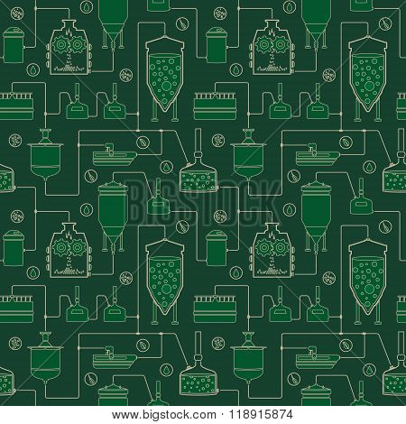 Green seamless background - beer brewing process