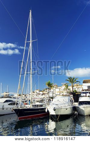 MARINA OF PUERTO BANUS - CIRCA OCTOBER 2015 - Luxurious yachts in Puerto Banus near Marbella on Costa del Sol, Andalusia, Malaga province, Spain