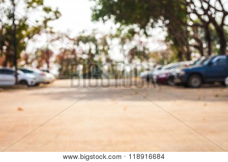 blur image of the parking motorbikes on outdoors