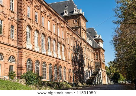 Turin,Italy,Europe - October 16, 2015 : The rear facade of the  Castle in the Valentino Park