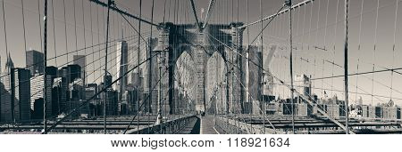 Brooklyn Bridge and Manhattan skyline panorama.