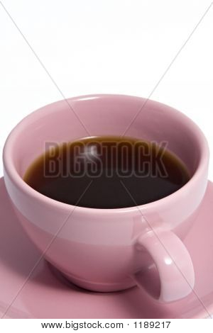 Pink Coffee Cup Full Of Coffee