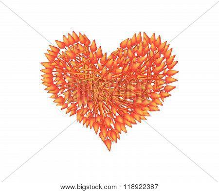 Red Ixora Flowers In A Heart Shape