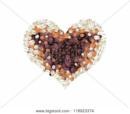Coffee Beans Forming In A Heart Shape