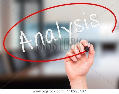 Man Hand Writing Analysis With Marker On Visual Screen