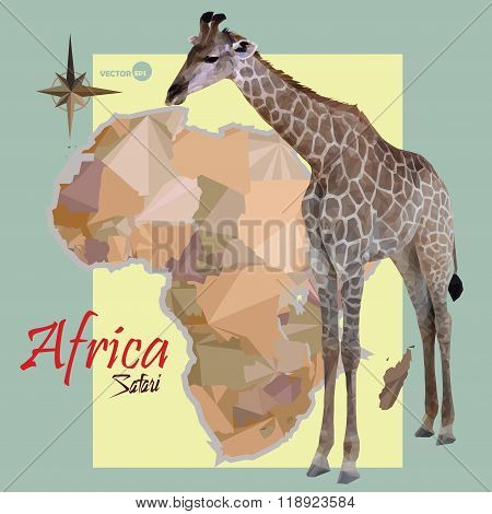 map of Africa. concept map with countries, image of a giraffe imitation vintage political map of Afr