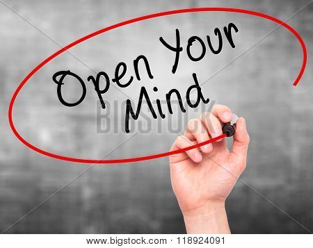Man Hand Writing Open Your Mind With Marker On Transparent Screen