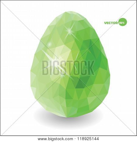 Happy Easter green eggs with shine lights on the white background, design for card, hunt invitations