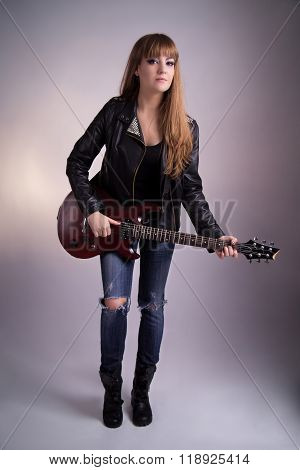 Beautiful Girl With An Electric Guitar