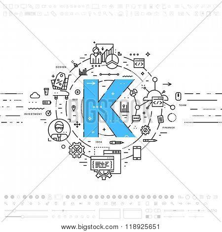 Alphabet Letter K. Flat Style, Thin Line Art Design. Set of application development, web site coding, information, mobile technologies, business icons and elements. Modern concept vectors collection