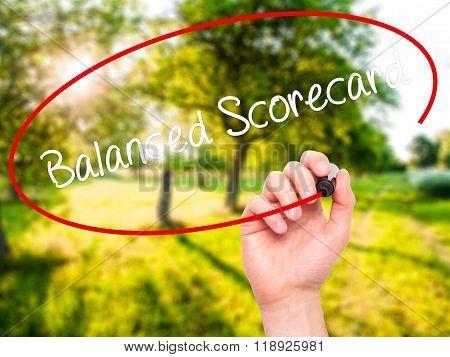 Man Hand Writing Balanced Scorecard With Black Marker On Visual Screen