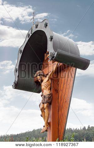 A wooden wayside Cross