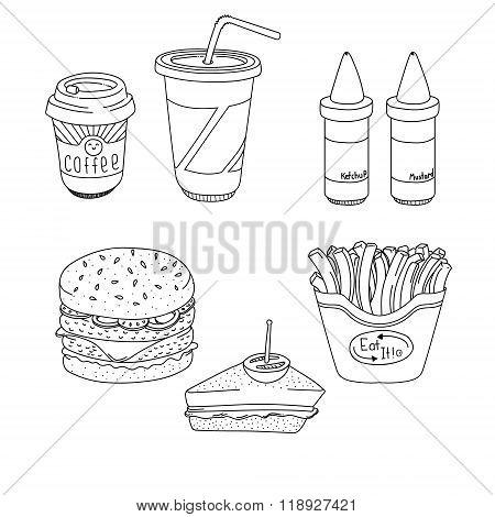 Set of cartoon fast-food meal lineart